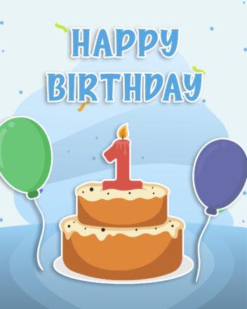 Free 1st Year Happy Birthday Image With Cake - birthdayimg.com
