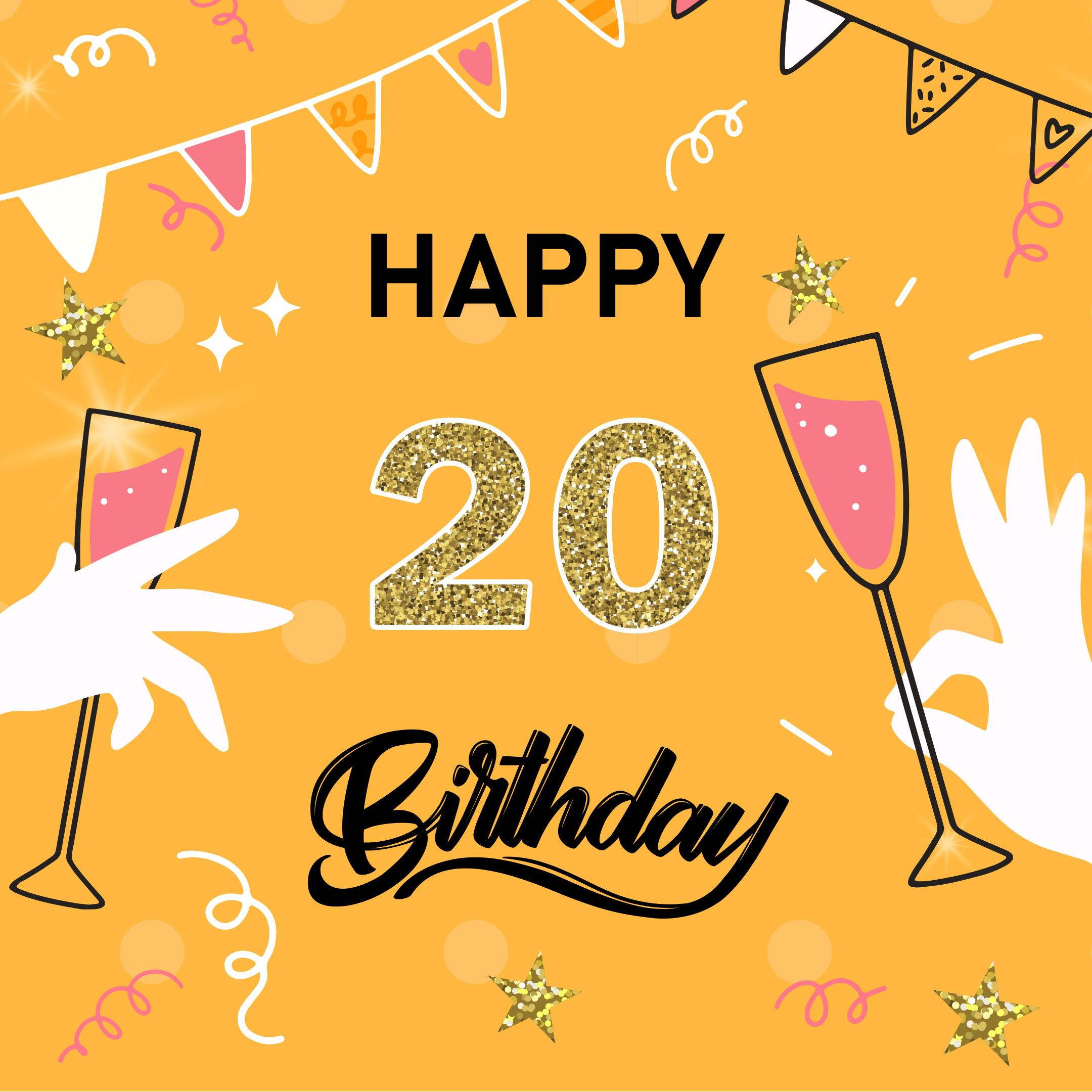 Free 20th Years Happy Birthday Image With Wineglass - birthdayimg.com