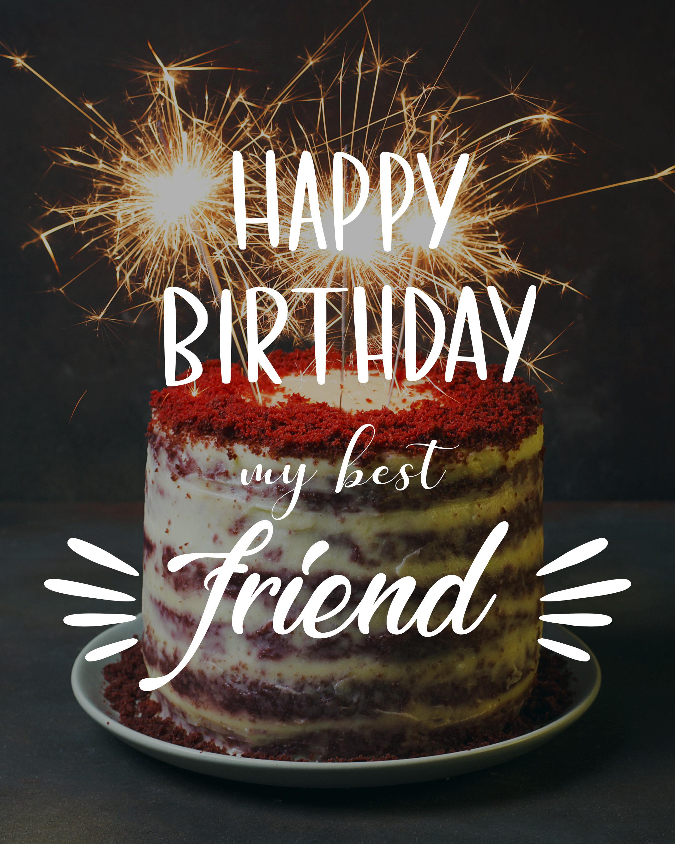 Free Happy Birthday Image for Friend With Cake - birthdayimg.com