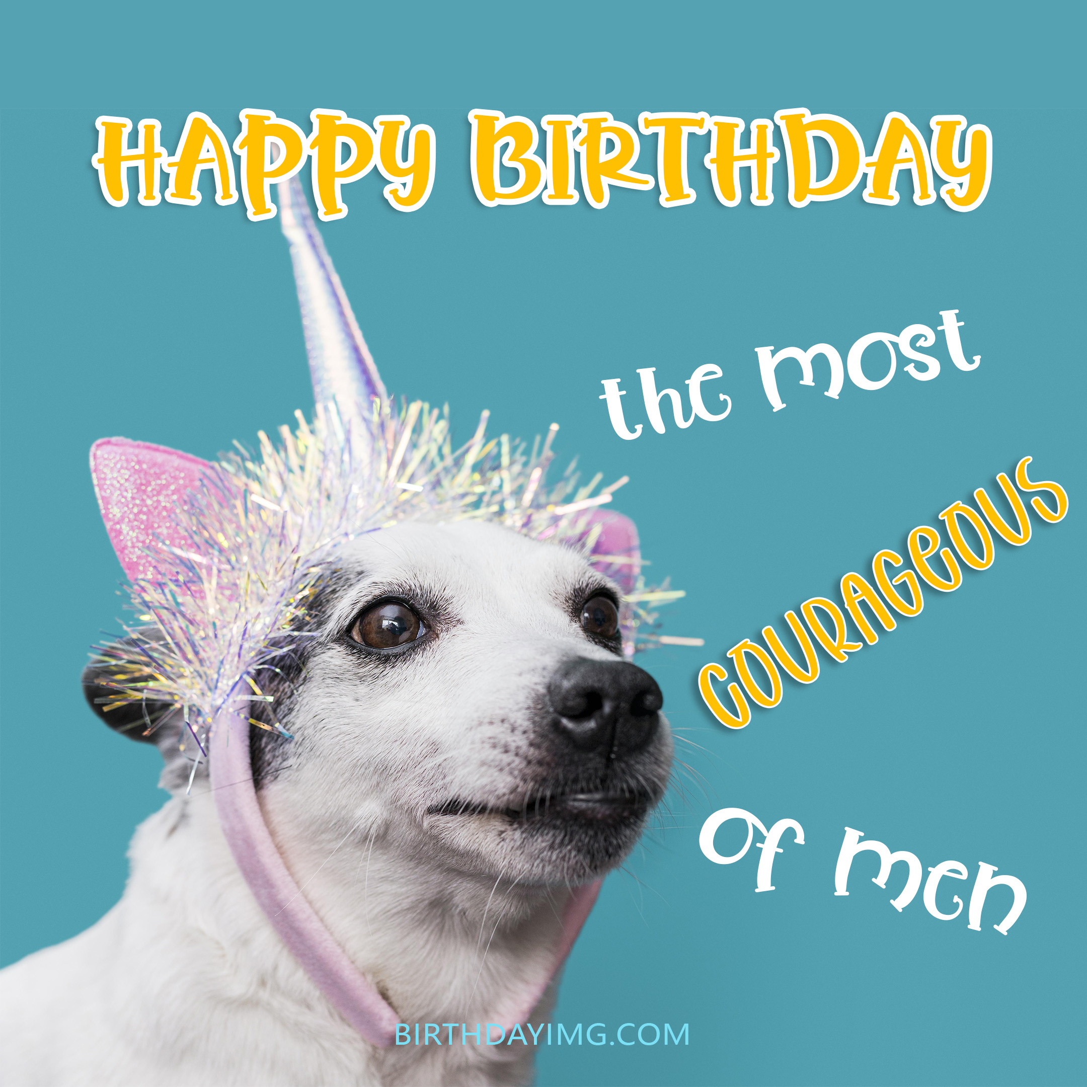 Free Happy Birthday Image For Him (Man) With Funny Big Dog - birthdayimg.com