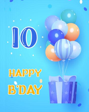 Free 10th Years Happy Birthday Image With Balloons - birthdayimg.com