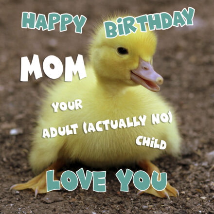Free Funny Happy Birthday Image For Mom With Duckling - birthdayimg.com