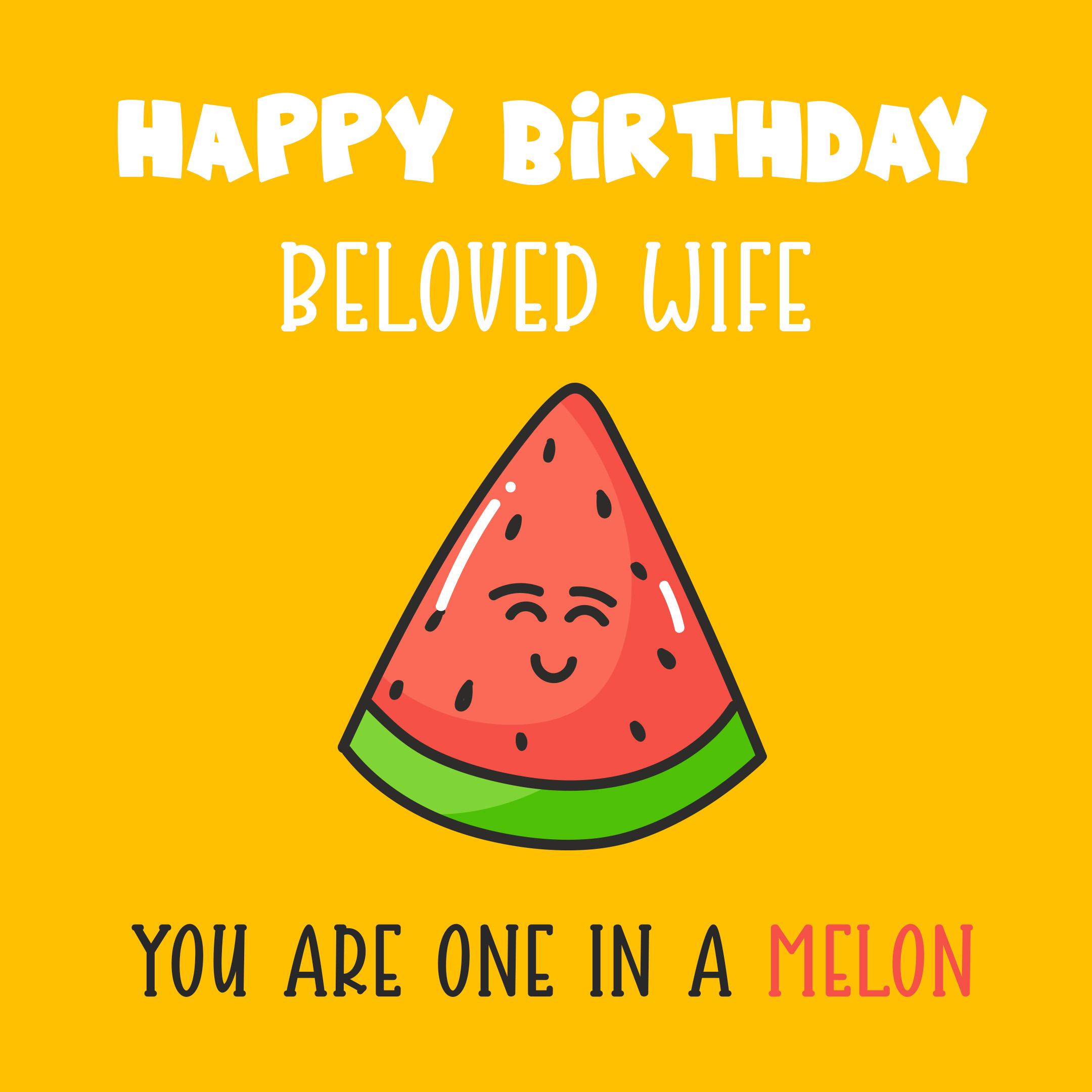 Free Cute Happy Birthday Image For Wife With Watermelon - birthdayimg.com
