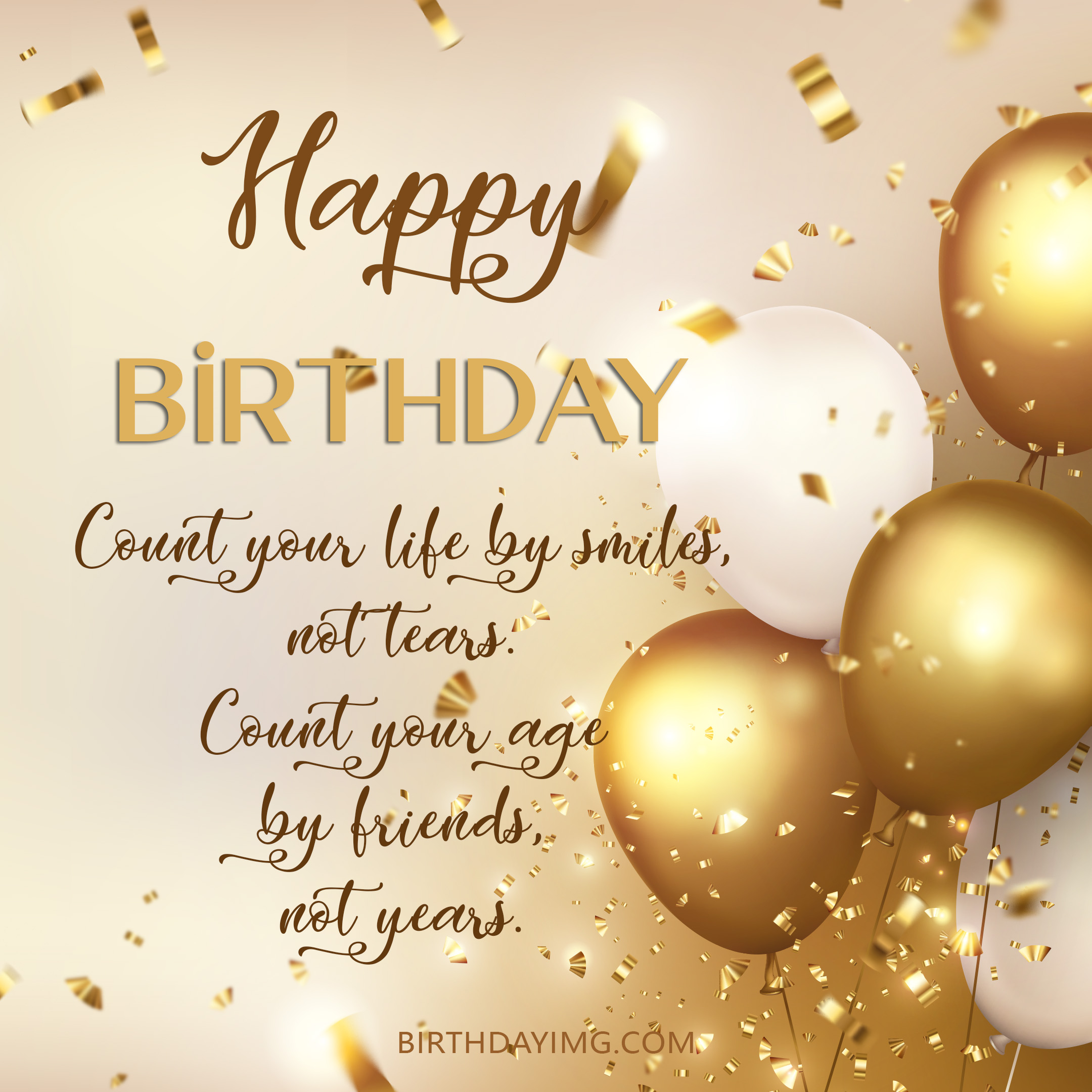 Free Happy Birthday Image With Golden and White Balloons - birthdayimg.com