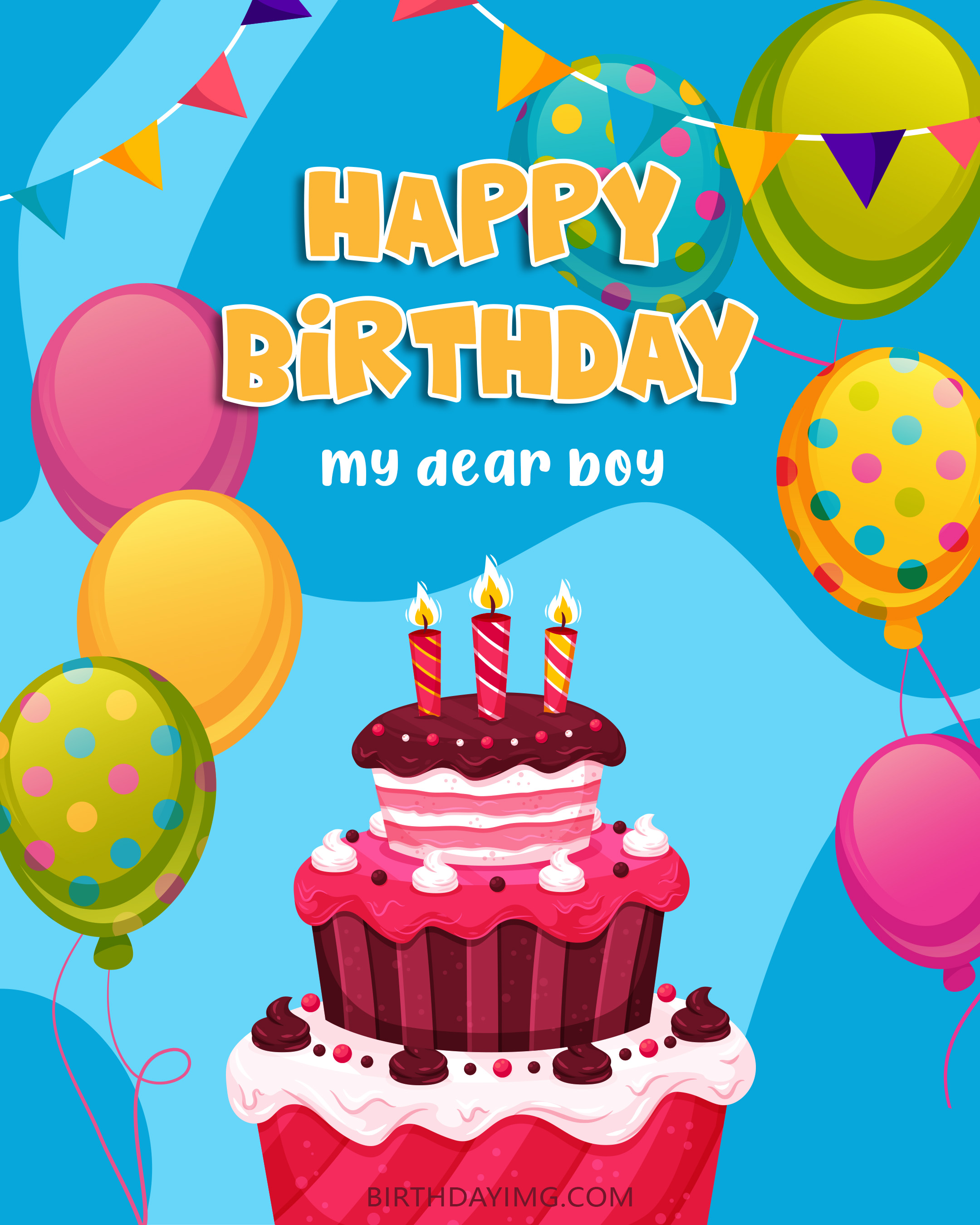 Free Happy Birthday Image For Boy With Cake And Balloons - birthdayimg.com