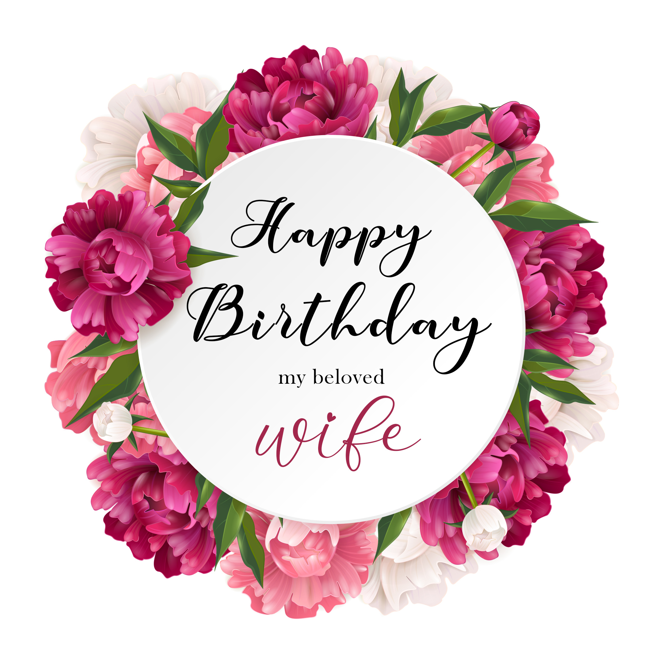 Free Happy Birthday Image For Wife With Pink Flowers - birthdayimg.com