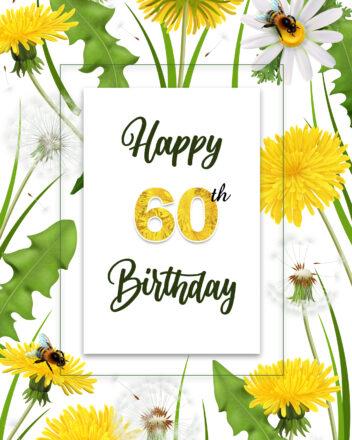 Free 60th Years Happy Birthday Image With Flowers - birthdayimg.com
