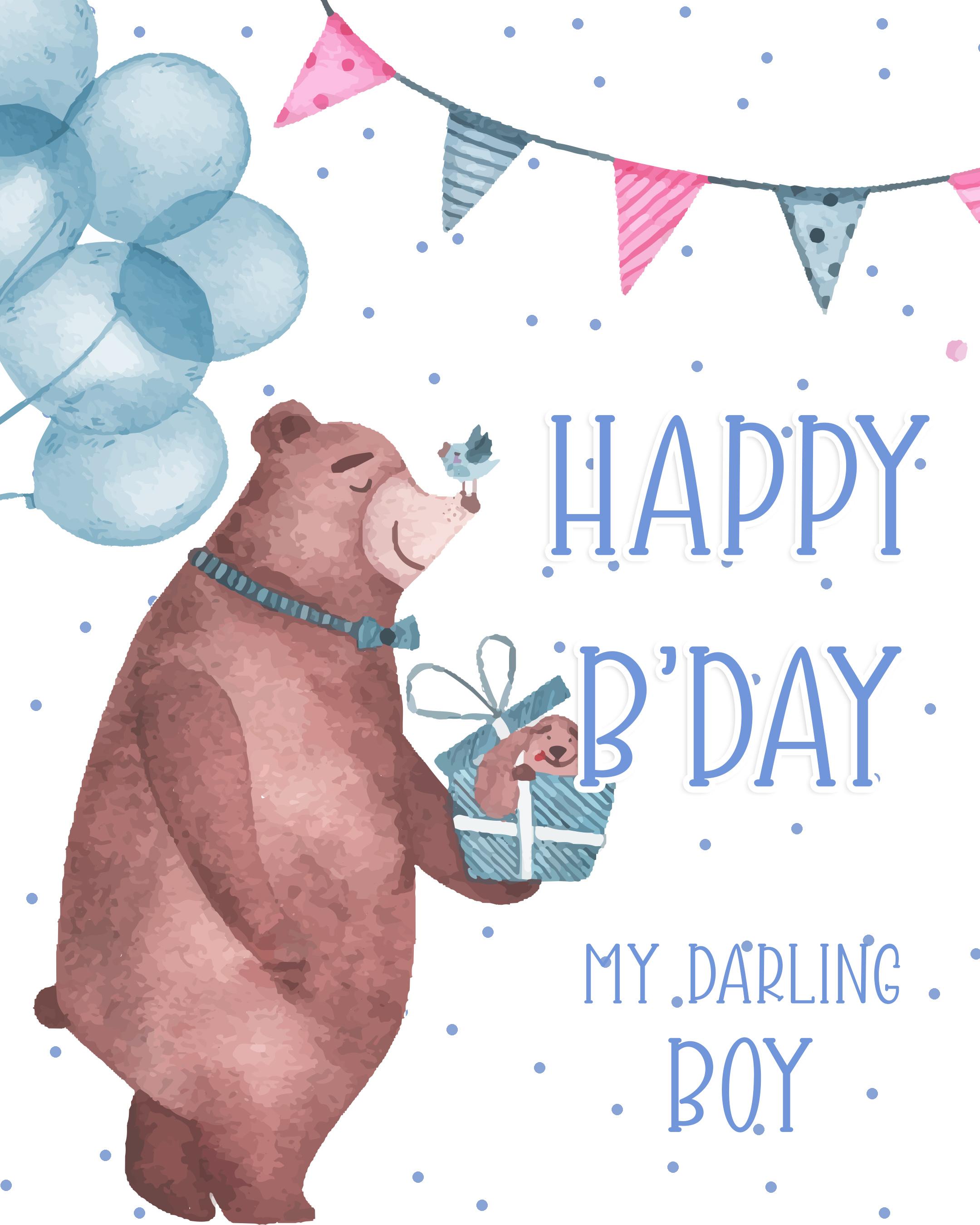 Free Happy Birthday Image For Boy With Bear - birthdayimg.com