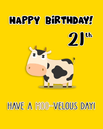 Free 21th Years Happy Birthday Image With Funny Cow - birthdayimg.com