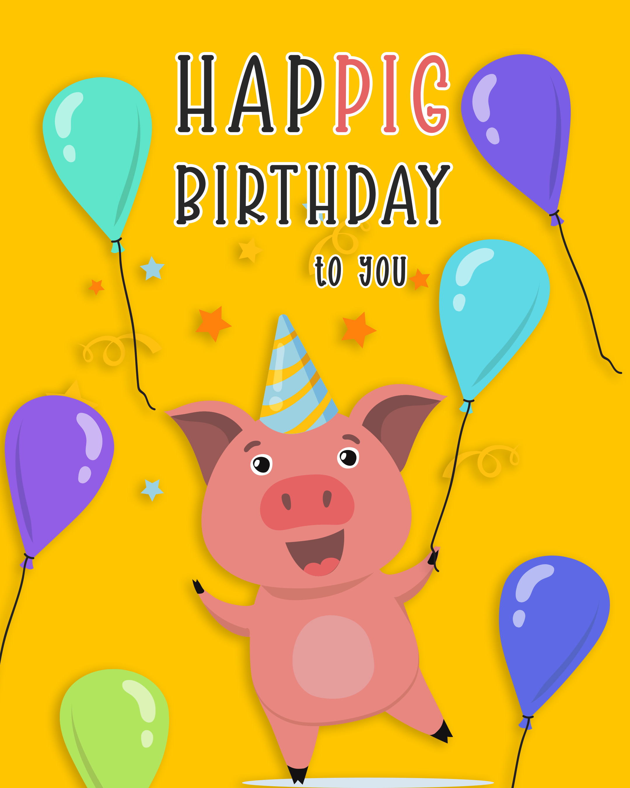 Free Funny Happy Birthday Image With Balloons And Pig - birthdayimg.com