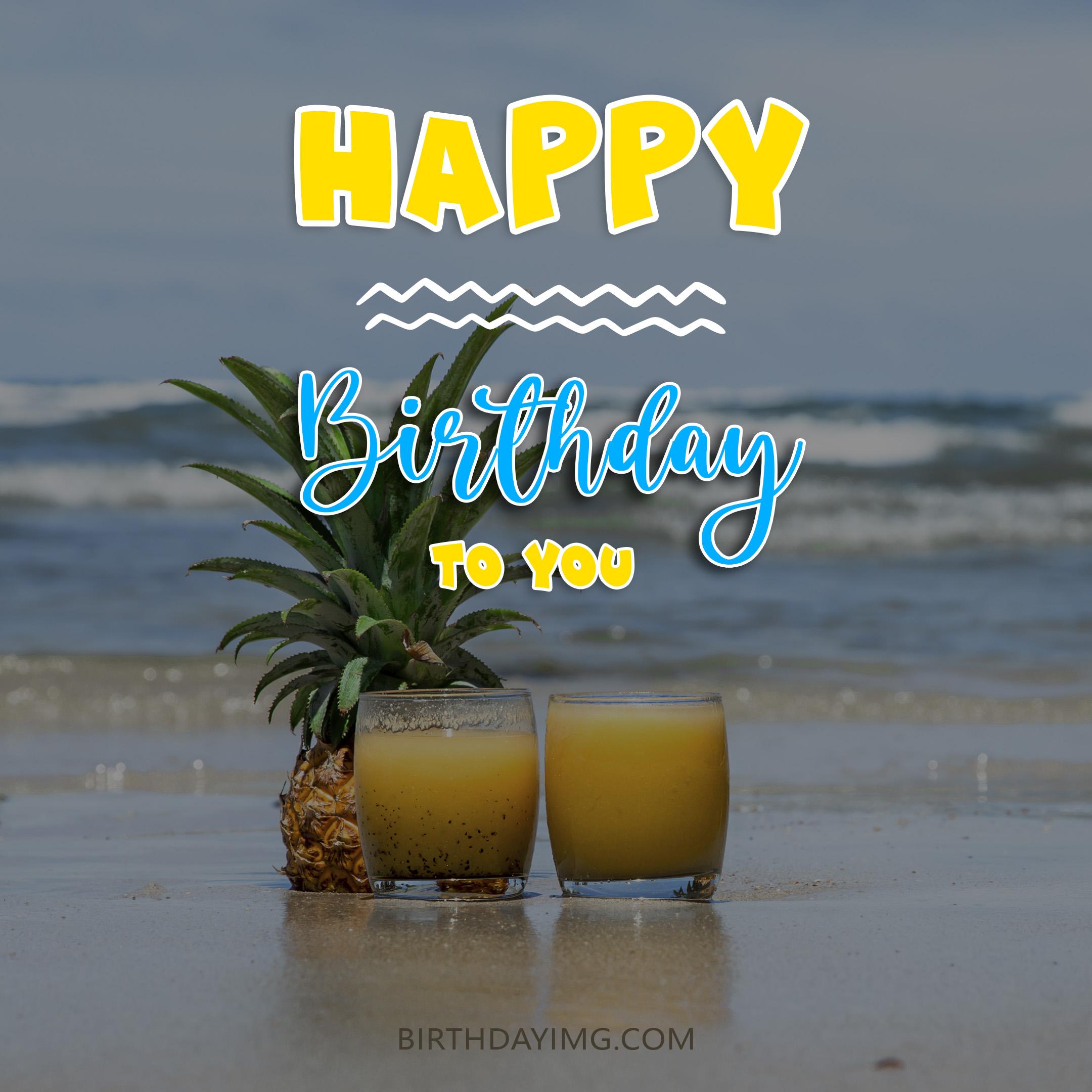 Free Happy Birthday Image With Beach and Drinks - birthdayimg.com