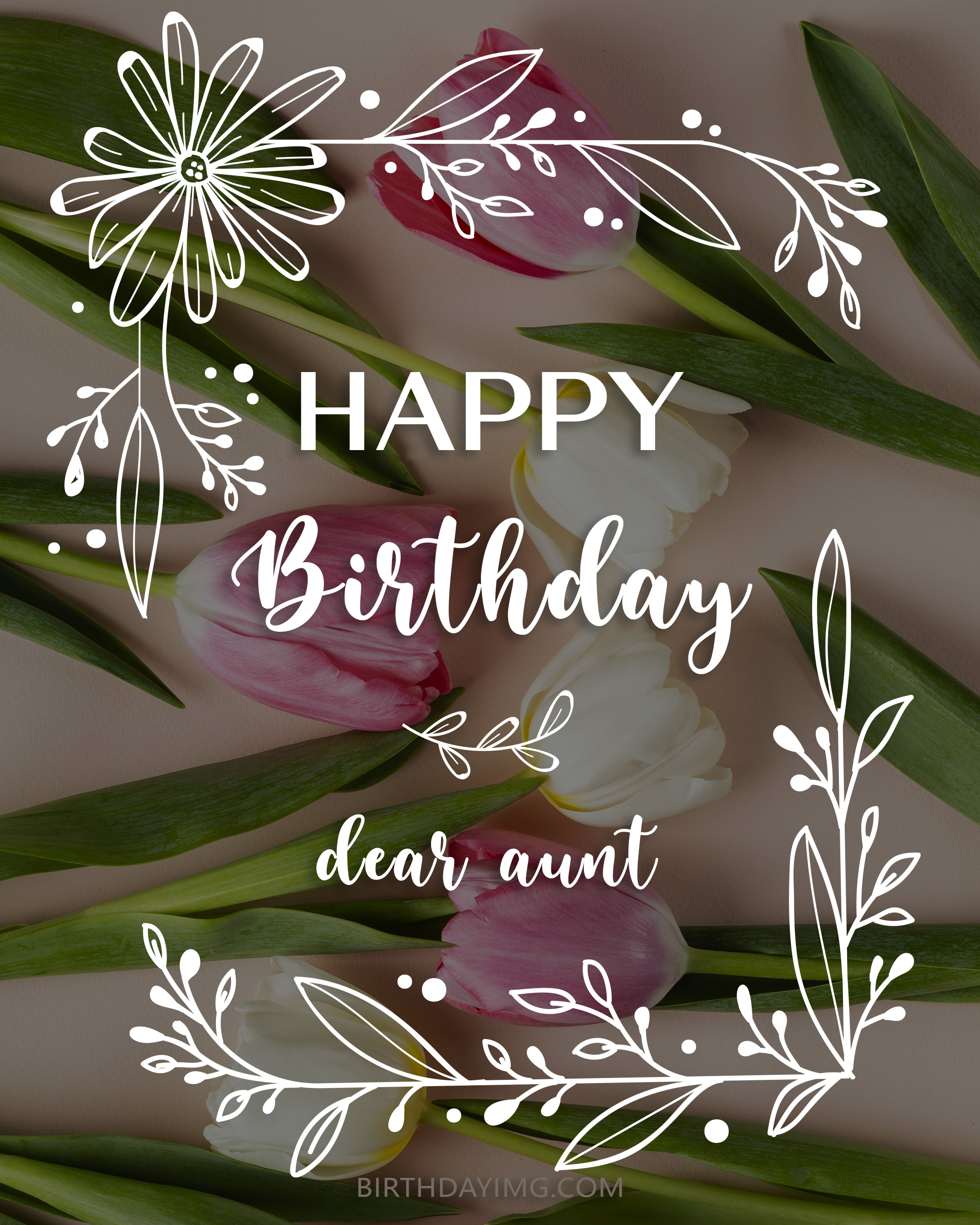 Free Happy Birthday Image For Aunt With Tulips - birthdayimg.com
