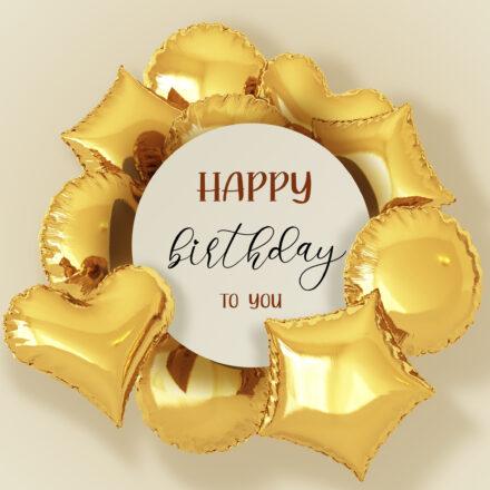 Free Happy Birthday Image With Golden Balloons - birthdayimg.com