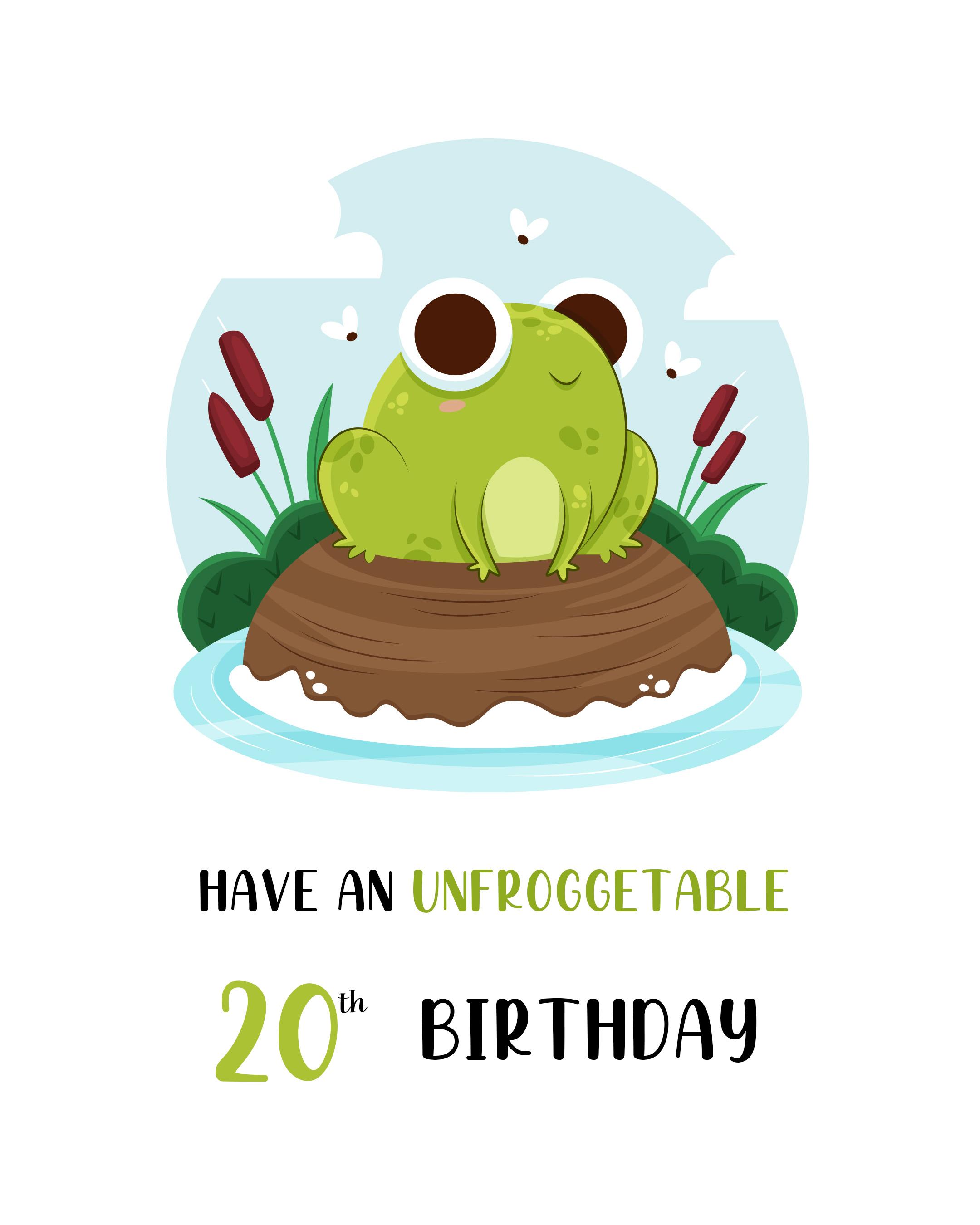 Free Funny 20th Years Happy Birthday Image With Frog - birthdayimg.com