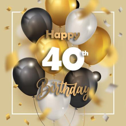 Free 40th Years Happy Birthday Image With Balloons - birthdayimg.com
