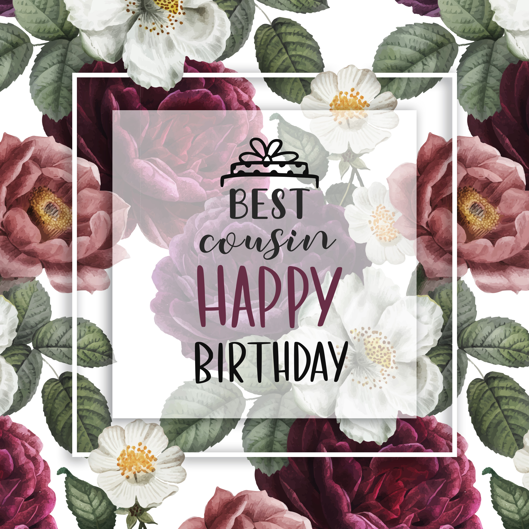 Free Happy Birthday Image For Cousin With Flowers - birthdayimg.com