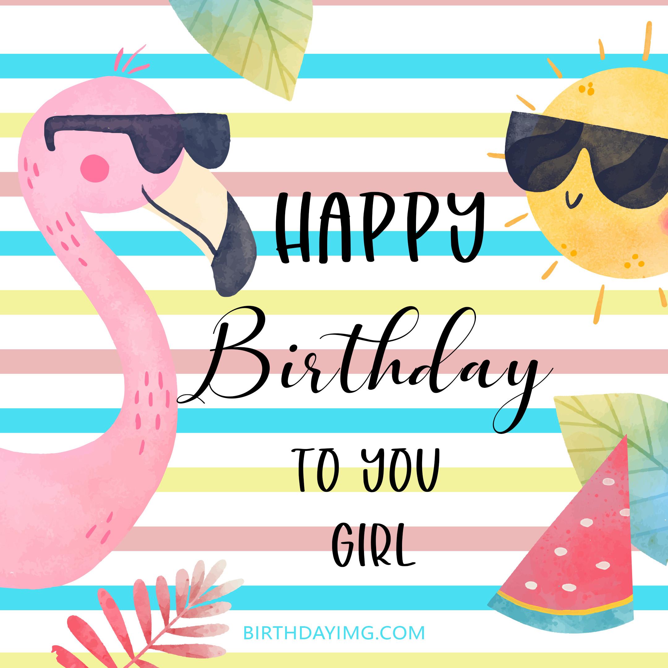 Free Cute Happy Birthday Image For Girl With Flamingo - birthdayimg.com