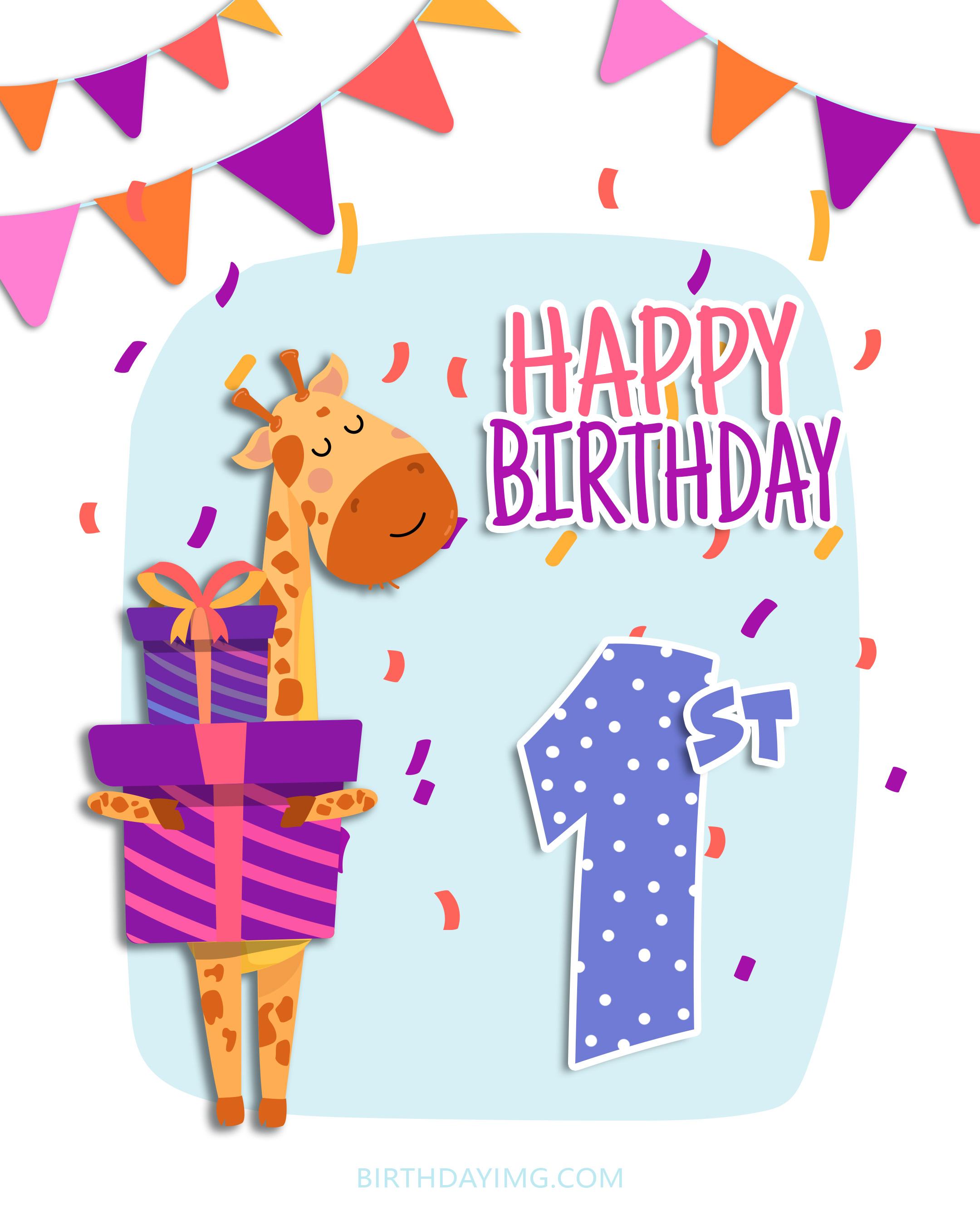 Free 1st Year Happy Birthday Image With Giraffe and Gift Box - birthdayimg.com