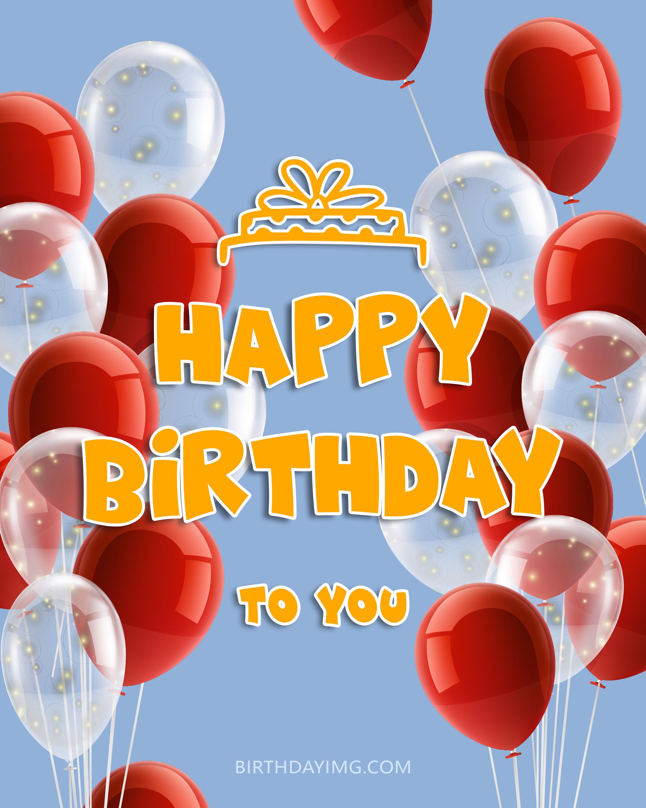 Free Happy Birthday Image With Red Balloons - birthdayimg.com