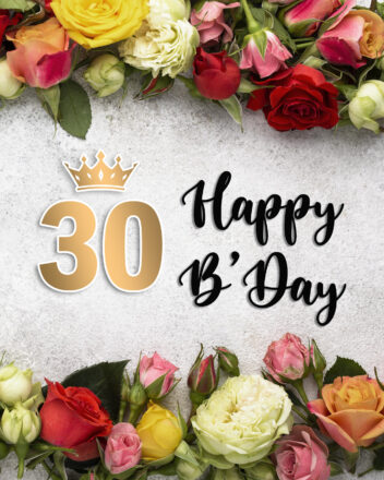 Free 30th Years Happy Birthday Image With Flowers - birthdayimg.com