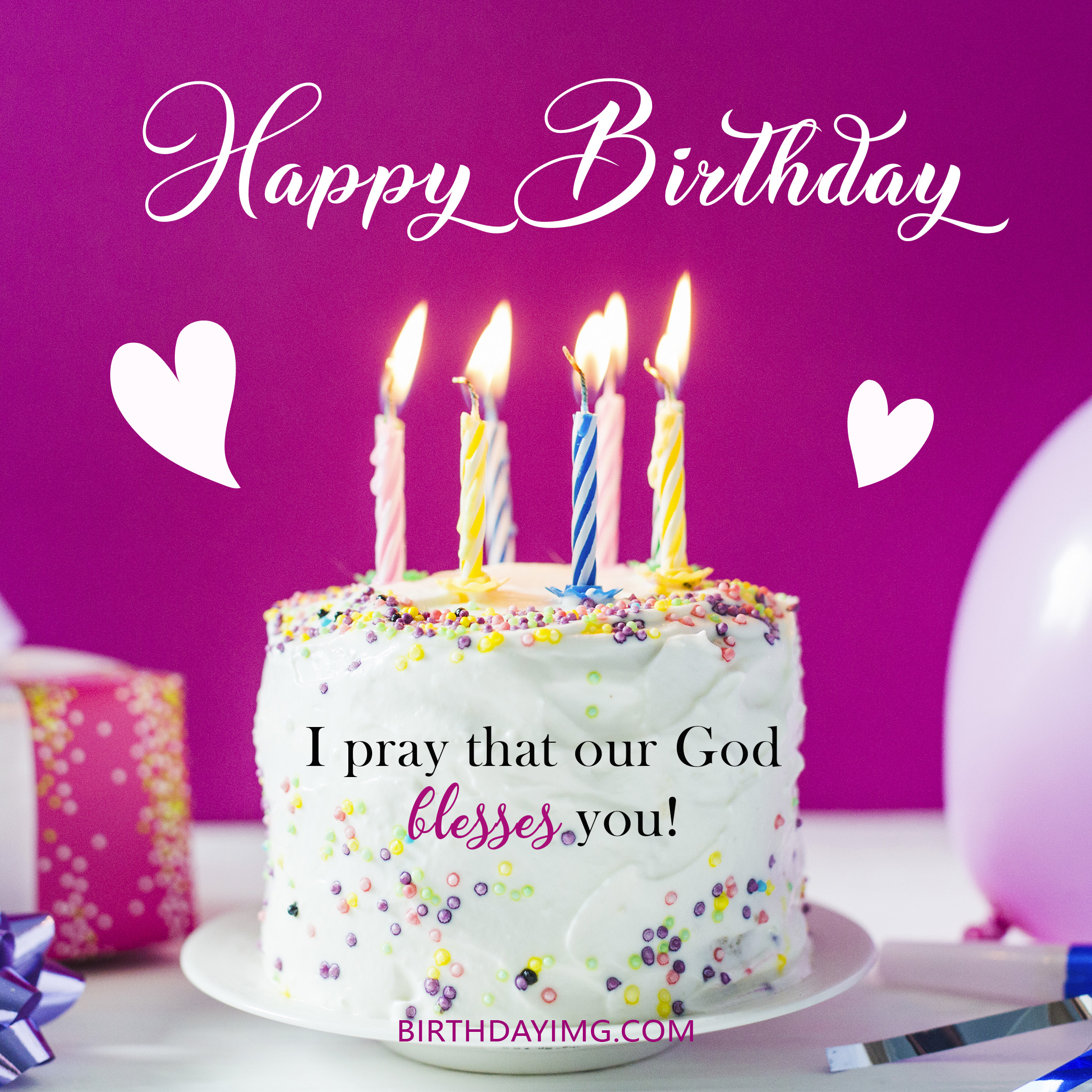 Free Happy Birthday Image With Blessings, Candles and Cake - birthdayimg.com