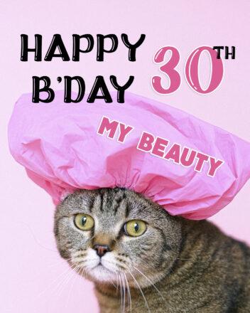 Free Funny 30th Years Happy Birthday Image With Cat - birthdayimg.com