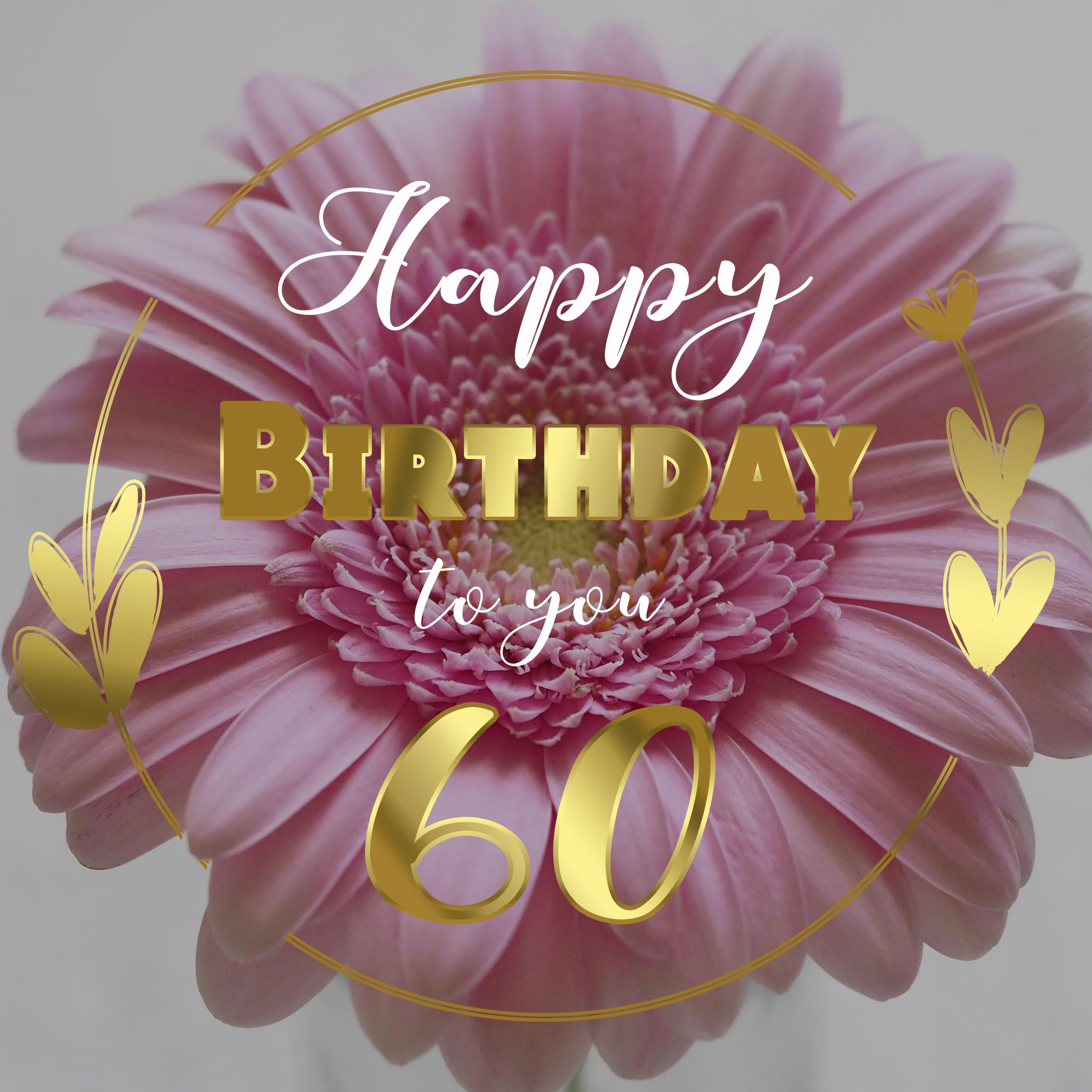 Free 60th Years Free Happy Birthday Image With Flower - birthdayimg.com