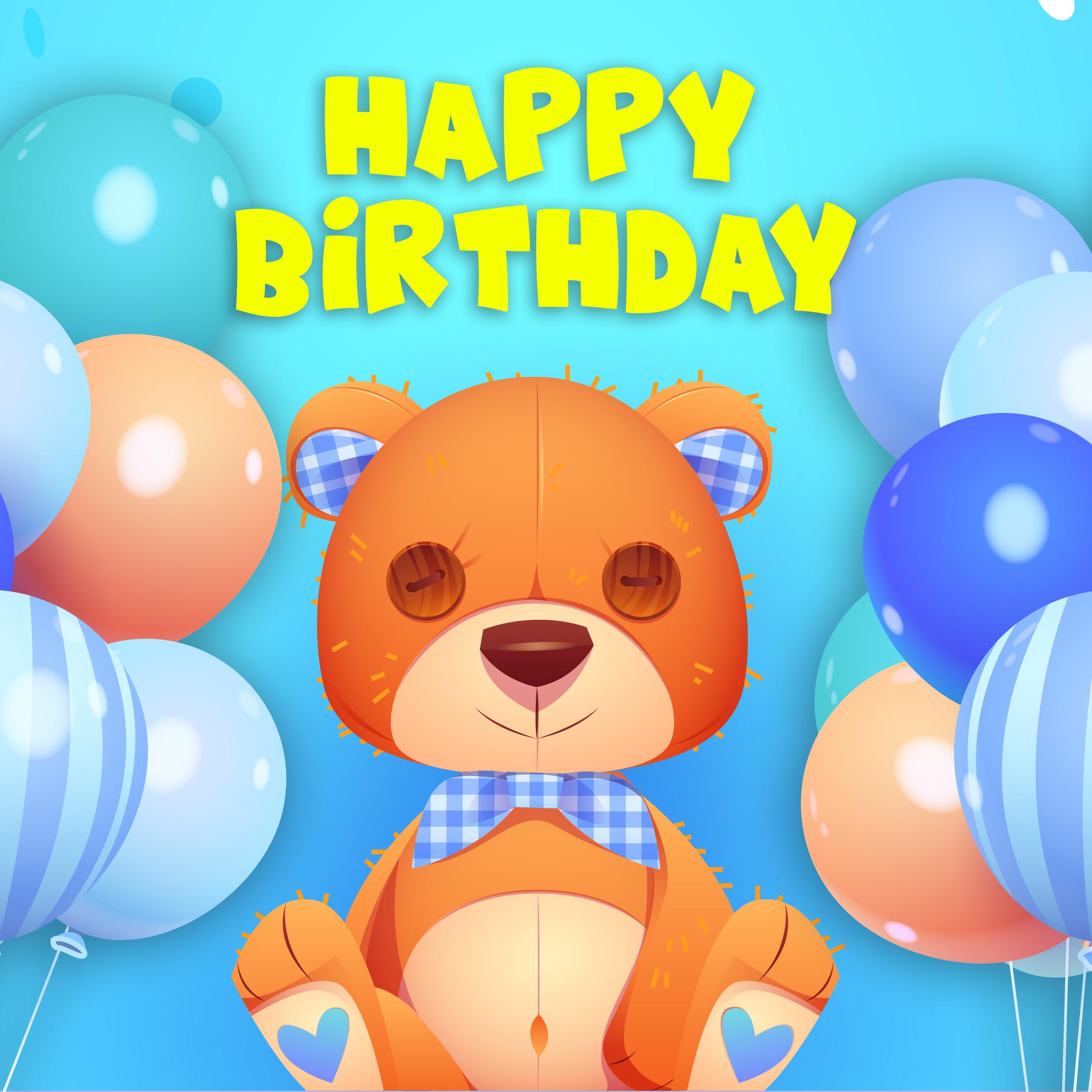 Free Happy Birthday Image For Boy With Teddy Bear - birthdayimg.com