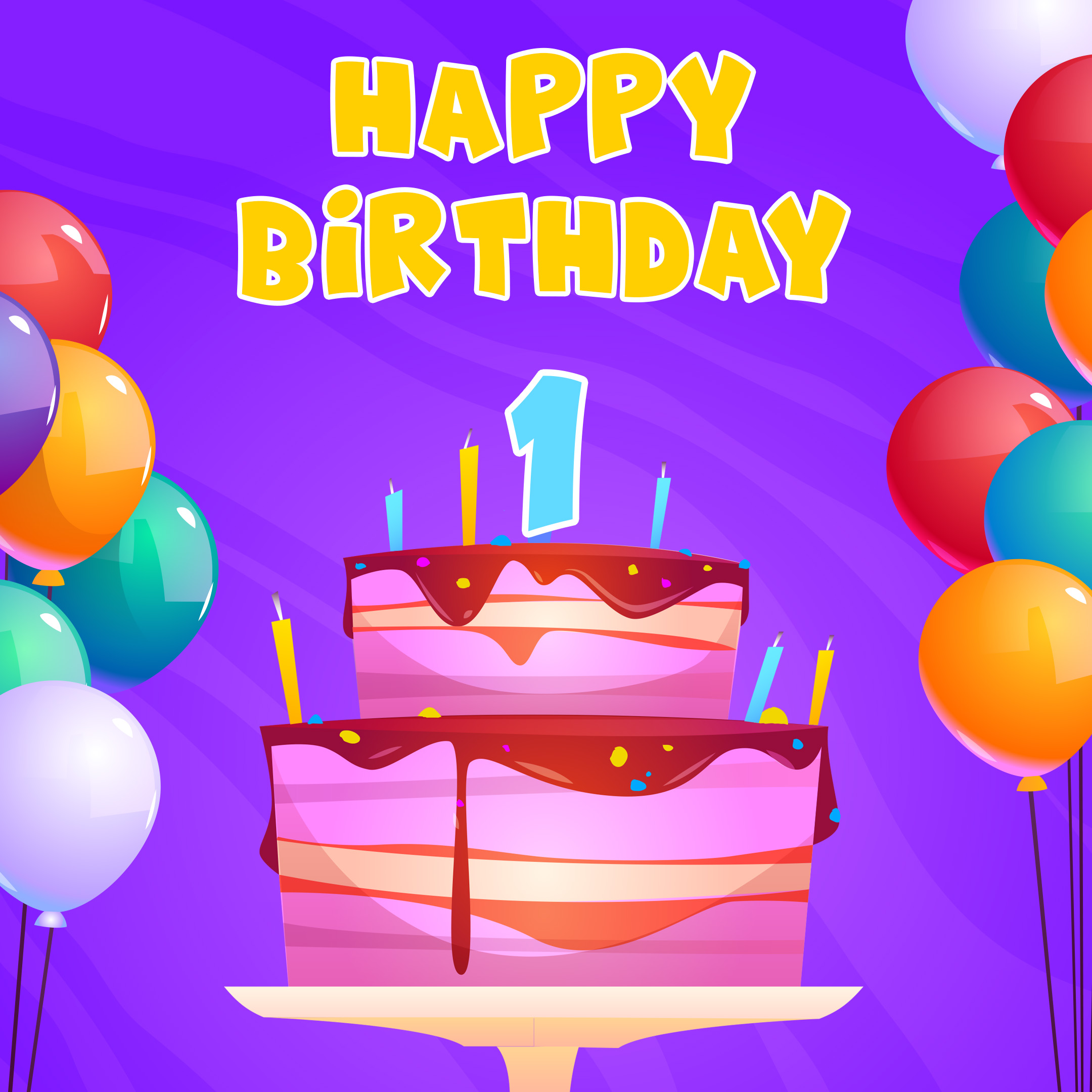 Free 1st Year Happy Birthday Image With Cake And Balloons - birthdayimg.com