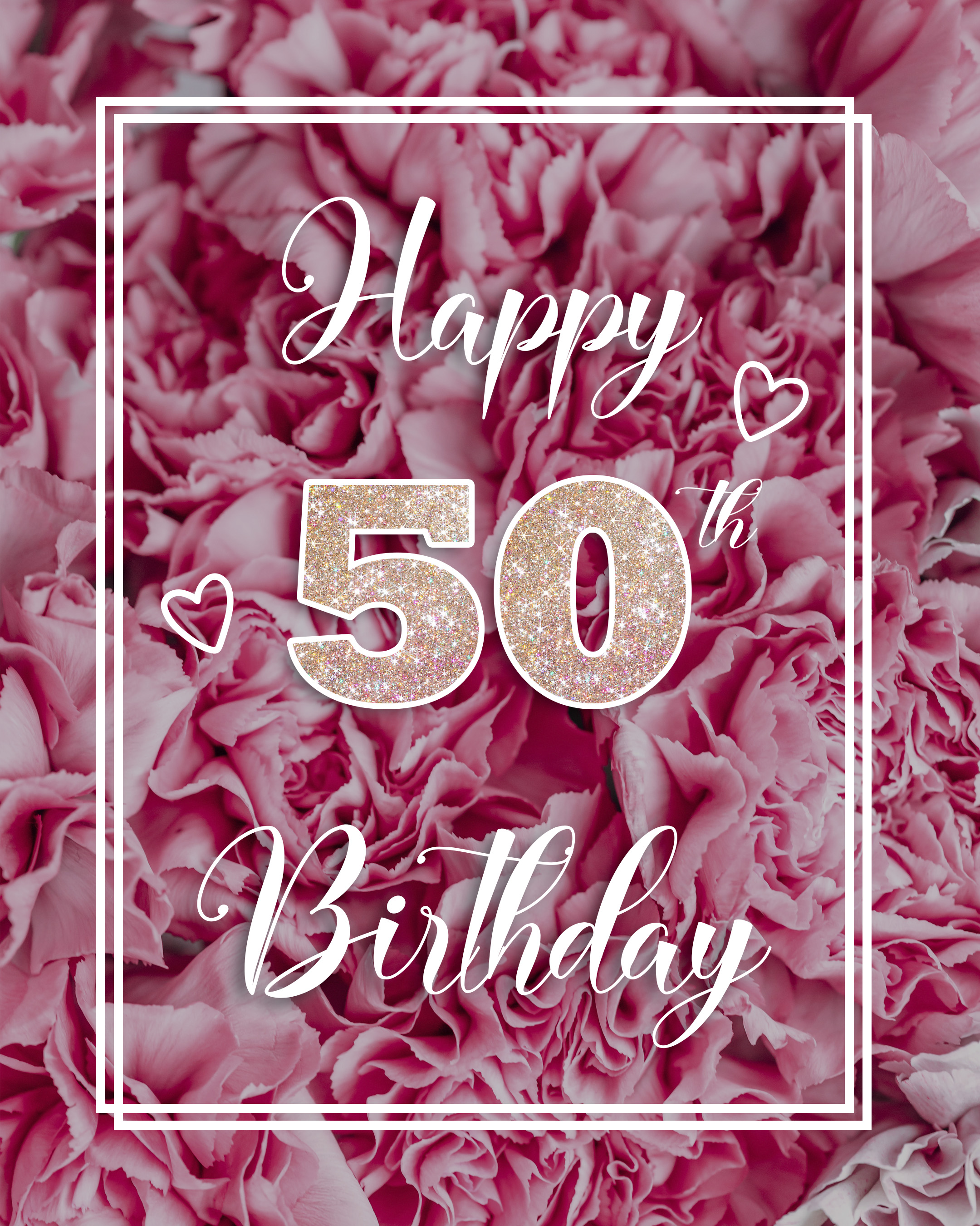 Free 50th Years Happy Birthday Image With Pink Flowers - birthdayimg.com