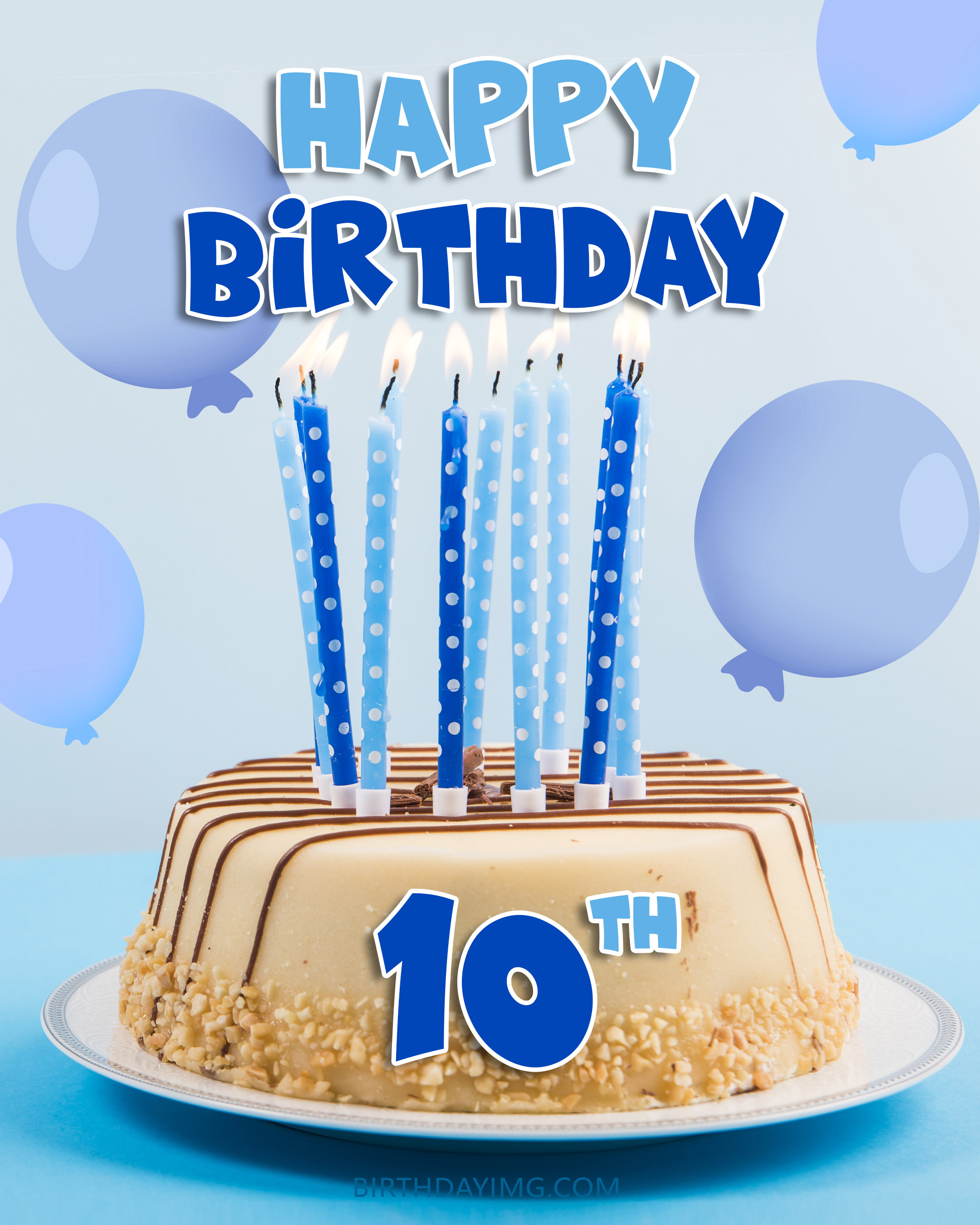 Free 10th Years Happy Birthday Image With Cake And Balloons - birthdayimg.com